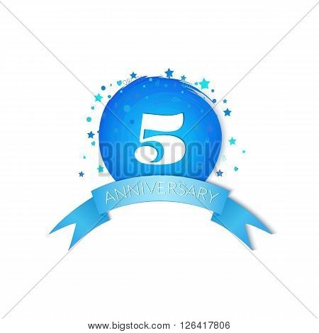 Fifth Anniversary Celebration Vector Design isolated on white background