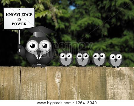Knowledge is power sign with bird teacher and students perched on a wooden fence