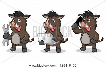Dark Brown Wild Pig Mascot with laptop and phone
