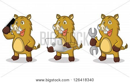 Light Brown Wild Pig Mascot with laptop and phone