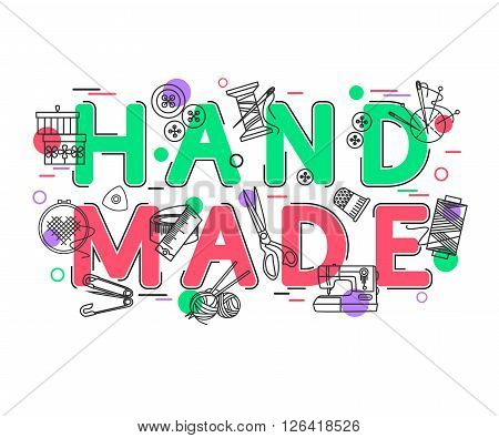 Handmade Background with vector icons and elements. Hand Made Banner.  Handmade Crafts. Handmade Design. Vector Illustration.