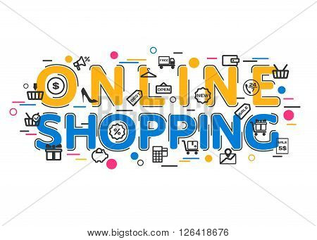 Online Shopping Concept with vector icons and elements. Online Shopping Banner for website, header, advertising booklet and poster. Online Shopping Icons. Flat Style, Thin Line Art Design.