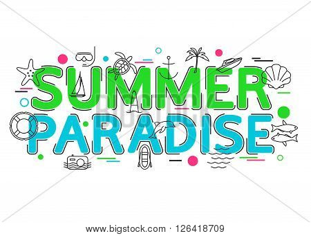 Summer Paradise Background with vector icons and elements.  Summer Vacation. Summer Holiday: dolphin, boat, diving, palm, boat, fishing. Summer travel. Flat Style, Thin Line Art Design.