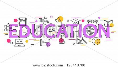 Education Concept with vector icons and elements. Education Banner for website, header, advertising booklet and poster. Education Background. School Background. Flat Style, Thin Line Art Design.
