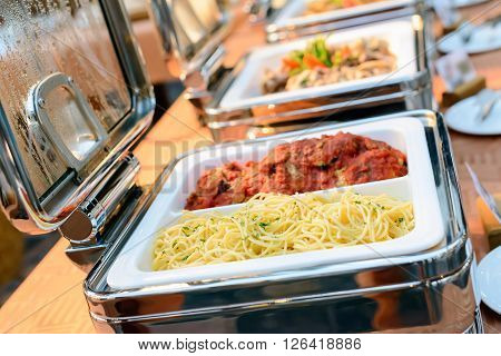 a catering food in restaurant luxury hotel.