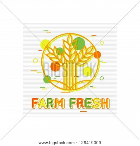 Farm Fresh Concept. Farm Fresh Background. Farm Fresh Banner. Farm Fresh Logo. Farmers market. Fresh Produce. Fresh Food. Flat Style. Vector illustrator.