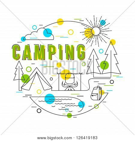 Camping Background with vector icons and elements. Camping Equipment. Summer Camp. Family Camping. Camping Gear. Vector hand drawn camp illustration. Flat Style, Thin Line Art Design.