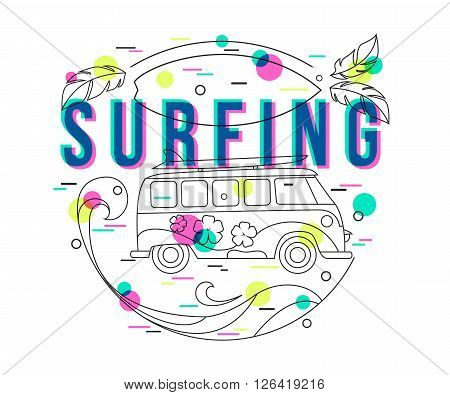 Summer Surfing Background with mini van and wave. Surfing label design for poster, banner, flyer. Hipster bus. Surfer bus. Flat Style, Thin Line Art Design.