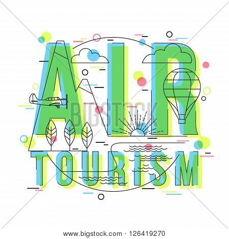 Air Tourism Background with vector icons and elements. Holidays and vacation: sea, ocean, land, air travelling. Balloon tour Background. Flat Style, Thin Line Art Design.