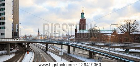 panorama Architecture Stockholm City Hall at dusk twilight Sweden