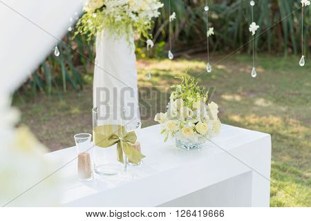 wedding decorations and arrangement flowers wedding sand ceremony. selective focus.