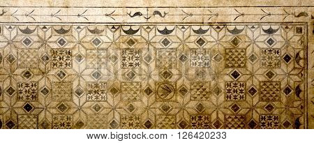 CORDOBA, SPAIN - September 10, 2015: Detail of a roman mosaic from the second or third century AD excavated on Plaza de la Corredera in 1959 on September 10, 2015 in Cordoba, Spain