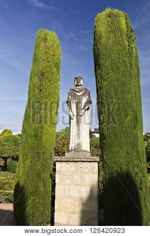 CORDOBA, SPAIN - September 10, 2015: Statue of a Spanish king in the Promenade of the Kings at the Alcazar on September 10, 2015 in Cordoba, Spain