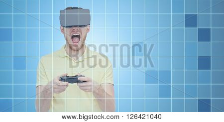 3d technology, virtual reality, entertainment and people concept - young man with virtual reality headset or 3d glasses playing with game controller gamepad and screaming over blue grid background