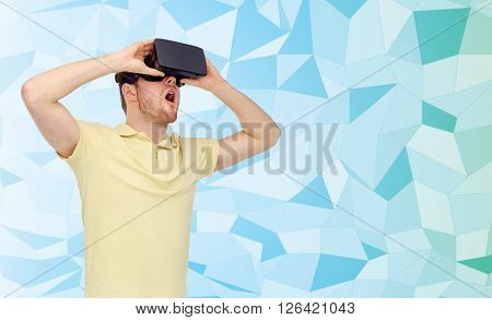 3d technology, virtual reality, entertainment and people concept - amazed young man with virtual reality headset or 3d glasses playing game over blue low poly texture background,