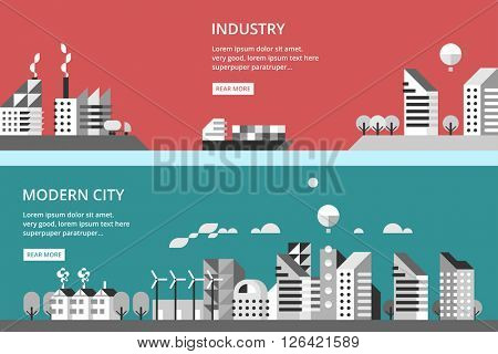 Flat design vector illustration with urban landscape and industrial factory buildings.