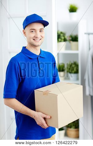 Courier with parcel