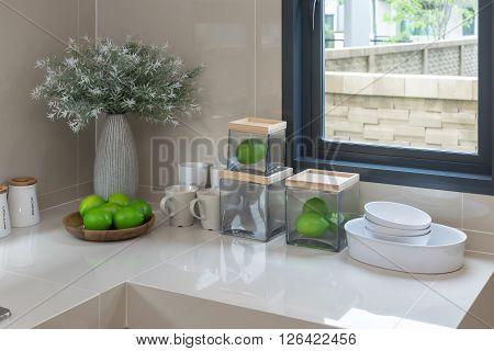 modern pantry with utensil in modern kitchen