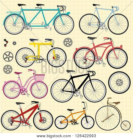 Bicycles. Vector flat design elements set.