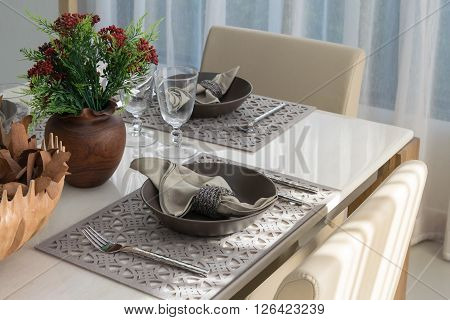 served with a plate on the table in luxury dinning room