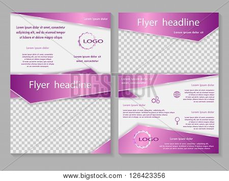 Vector flyer template design. For business brochure leaflet or magazine cover. Pink color.