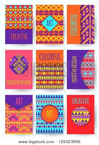 Hippie card with colorful pattern. Set of vector colorful card. Hippie style. Vector illustration.
