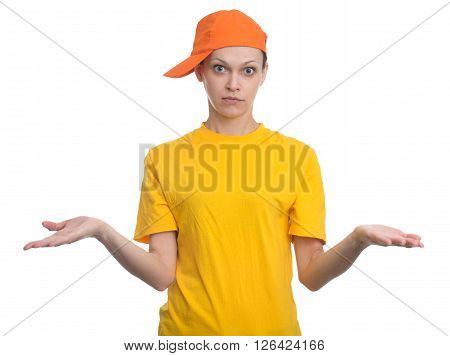 Young Woman Shrugging Shoulders. Isolated