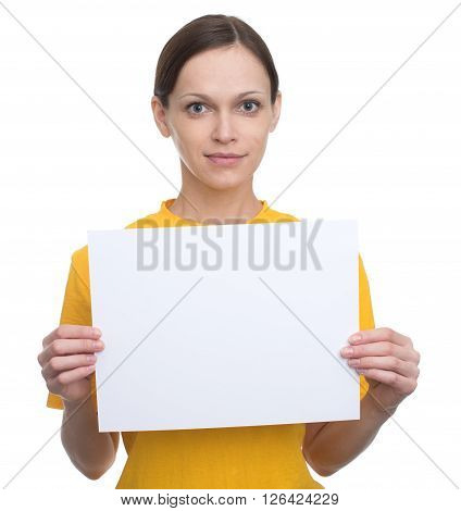 Happy Woman Holding White Blank Card