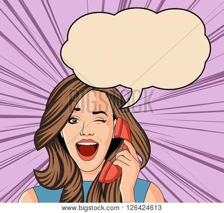 Beautiful brunet retro surprised woman talking on telephone. Vintage art.