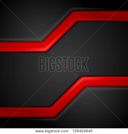 Abstract contrast black red tech background. Vector corporate graphic design