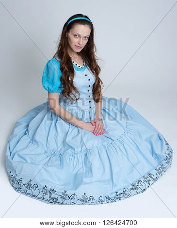 Beautiful Young Woman In Retro Dress