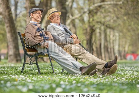 Two senior gentlemen sitting and relaxing on a wooden bench in a park on a sunny day