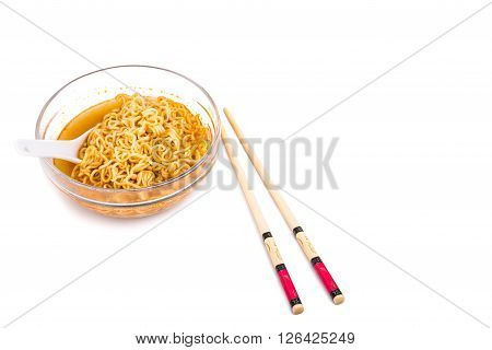 Bowl Of Convenient But Unhealthy Instant Noodle With Flavored Soup
