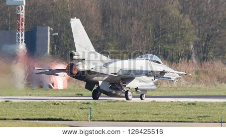 Leeuwarden, The Netherlands - April 11, 2016: Polish Air Force Lockheed F-16C Viper Landing During T