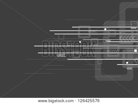 Geometric abstract tech grey background with arrows, stripes and squares. Vector technology graphic design