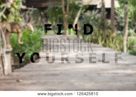 Find yourself inspirational quote on garden background stock photo