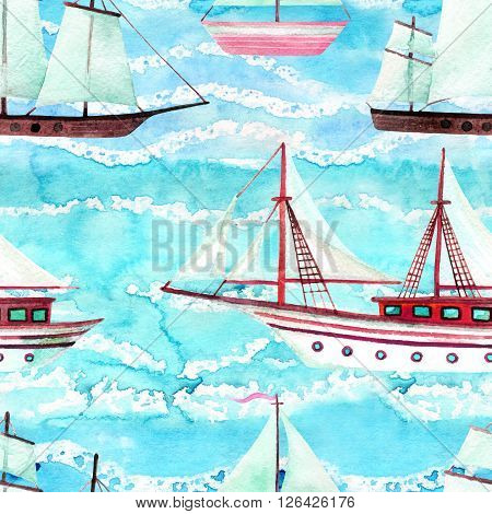 Watercolor sailing ships seamless pattern on turquoise waved background. Hand painted marine transport illustration. Travel cruise pattern with white sailing yacht in row