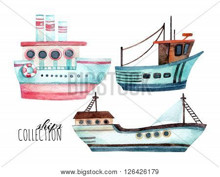 Watercolor modern ships set isolated on white background. Hand painted marine transport illustration. Travel cartoon elements (ocean liner and fishing boats)