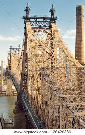 View of the Queensboro Bridge in New York City.