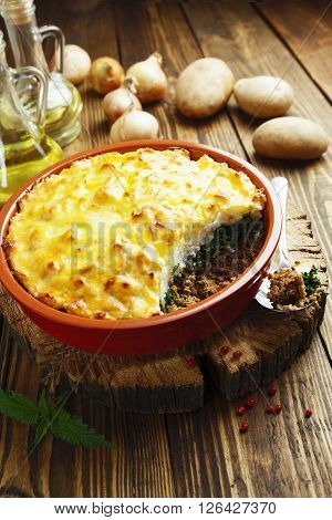 Potato Casserole With Meat And Nettle