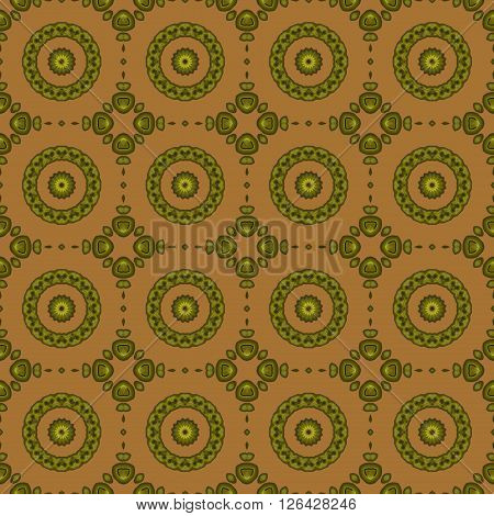 Abstract geometric seamless background. Regular circles pattern olive green on ocher brown.
