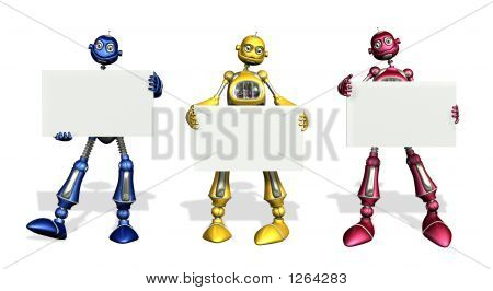 Three Robots With Blank Signs