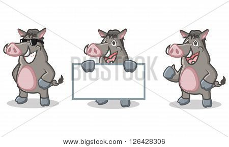 Gray Wild Pig Mascot happy, pose and bring board