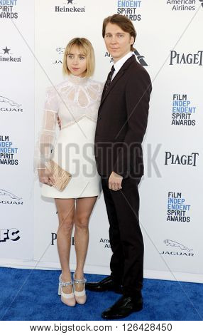 Zoe Kazan and Paul Dano at the 2016 Film Independent Spirit Awards held at the Santa Monica Beach in Santa Monica, USA on February 27, 2016.