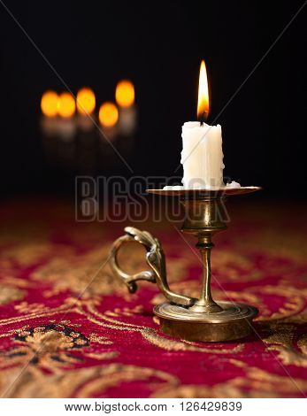 Candle In Small Brass Candlestick