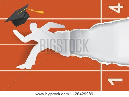 Paper silhouette of graduate young man with mortarboard on the start. Vector available.