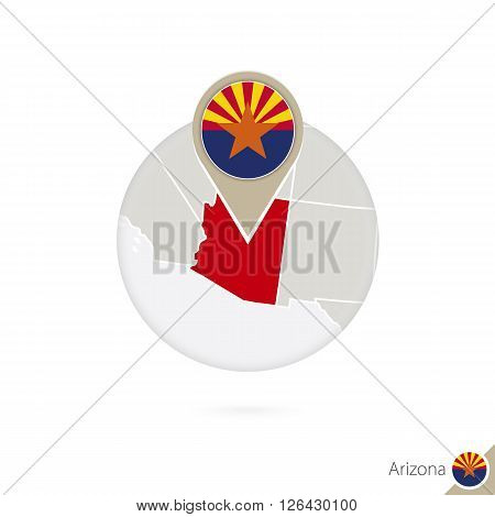 Arizona Us State Map And Flag In Circle. Map Of Arizona, Arizona Flag Pin. Map Of Arizona In The Sty