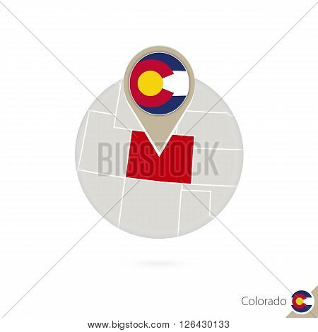 Colorado Us State Map And Flag In Circle. Map Of Colorado, Colorado Flag Pin. Map Of Colorado In The