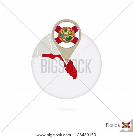 Florida Us State Map And Flag In Circle. Map Of Florida, Florida Flag Pin. Map Of Florida In The Sty