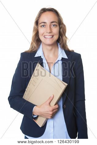 Blond businesswoman with blue eyes and blazer and file on an isolated white background for cut out